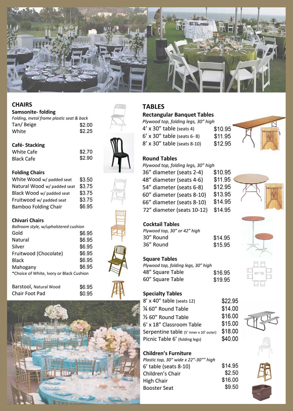 Orange County Catering Equipment,Chairs,Tables,Linens