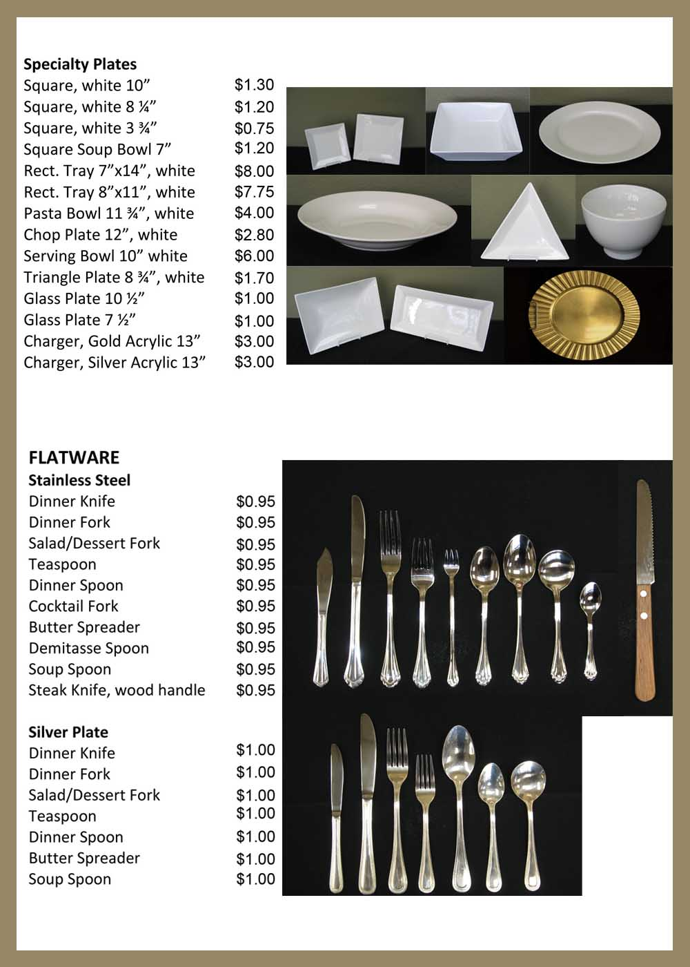 Orange County Catering Plates & Utensils Rentals